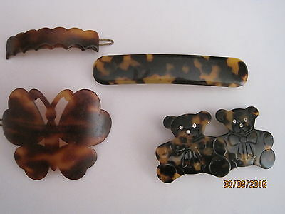 Vintage Lot  Hair Clip & Clasps - Tortoise Shell,  Faux Tortoise Shell