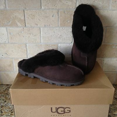 Ugg Coquette Chocolate Brown Suede Sheepskin Slippers Shoes Us 8 Womens 5125