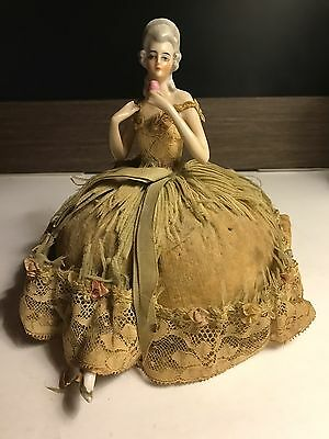 ANTIQUE German PORCELAIN half DOLL with LEGS pin cushion Marie Antoinette 1920s