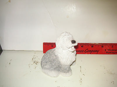 """VINTAGE SHEEPDOG FIGURINE-STONE CRITTERS -  APPROX 3.5"""" signed Miller USA"""