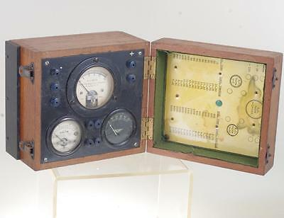 1925 Antique Ammeter (Ohmeter) In Fitted Oak Beize Lined Case Ref: 5249Q