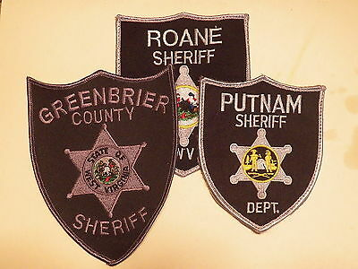 WEST VIRGINIA Sheriff's Office Patches - LOT of 3      (Roane/Putnam/Greenbrier)