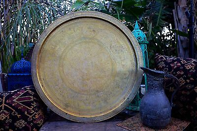 "Large 27 1/8"" Vintage Antique Hand Engraved Copper and Brass Egyptian Tray (B)"
