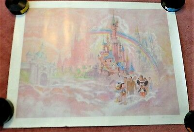 Euro Disney World Poster Ed French signed numbered1990's 24x32 Disneyland Poster