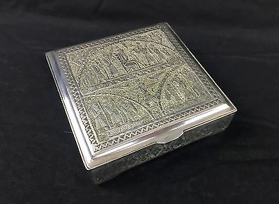 Antique Signed Persian Islamic Middle Eastern Silver Jewelry Case Box Qajar Rare