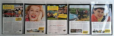 Lot of 5 Vintage Hertz Rental Car Company - Full Page ADs  Free Shipping - Lot 2