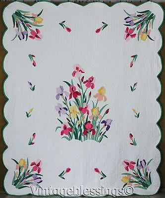 Glorious! Vintage Applique IRIS GARDEN Flowers QUILT 91x74""