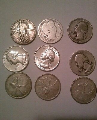 9 silver QUARTERS U.S. and CANADA BARBER STANDING LIBERTY WASHINGTON 1912 and up