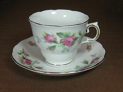 Royal Vale Bone China Cup and Saucer Pink Roses Gold Trim