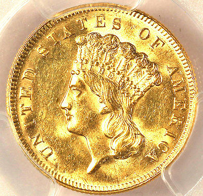 1878 $3 Gold Coin Ms62-  Pcgs- Pq
