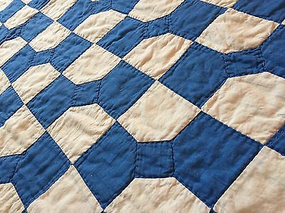 Hand Quilted Patchwork Baby Quilt Bow Tie Blue And White