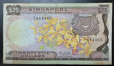 Singapore $25 orchid series 1967 banknote, Z prefix replacement Star note, Z/1