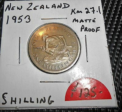 Nice New Zealand 1953 Matte Proof Shilling Coin