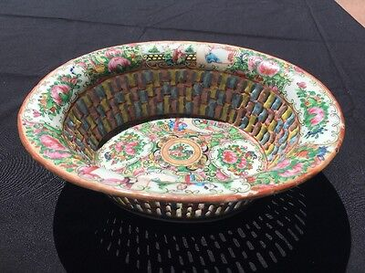 Antique Chinese Rose Medallion Reticulated Basket Famille Rose