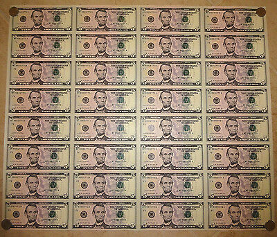 2009 $5 UNCUT SHEET 32 Subject FIVE DOLLAR BILLS UNITED STATES CURRENCY MONEY