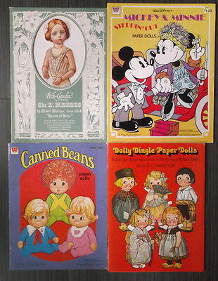 PAPER DOLLS 4 Books: Dolly Dingle A MARQUE Canned Beans MICKEY Disney 1970s/80s