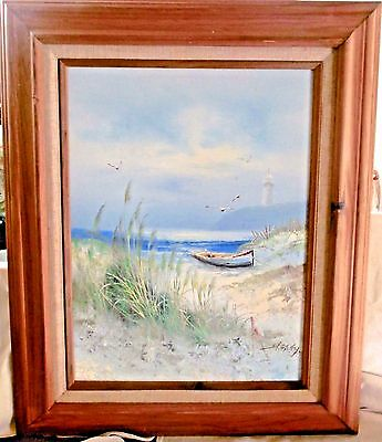 Signed Original H. Gailey Oil on Canvas Painting Beach Seascape Boat 18 x 22""