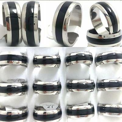 50x Black Enamel Men's Fashion Stainless Steel Band Rings Fashion Jewelry Joblot