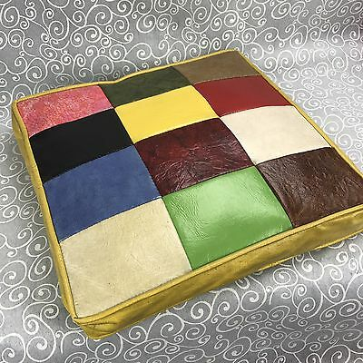 Vintage 1970's Square Patches Patchwork Throw Pillow Cushion Retro PU Leather