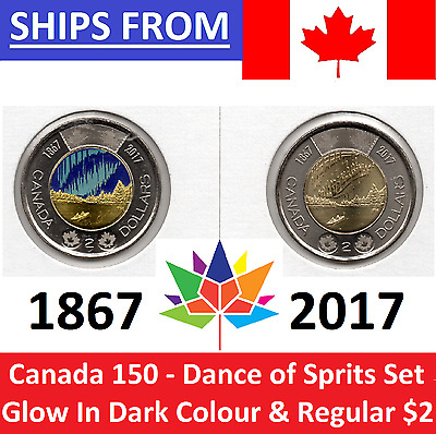 ➡➡ 🍁🍁 2017 Canada 150 $2 Toonie Glow in Dark & Regular SET 🍁 DANCE OF SPIRITS