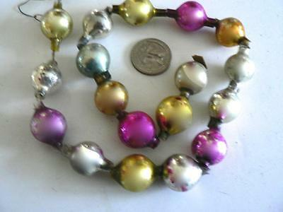"""Antique Vintage 18"""" Gold Pink Silver Glass Christmas Tree Garland"""