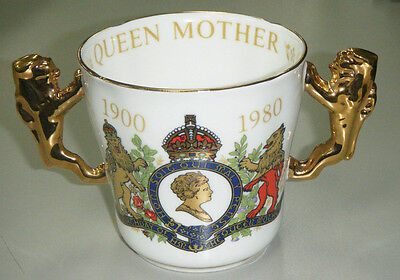 Vintage 1980 Queen Mother 80th Birthday Royal Commemorative Loving Cup