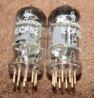 2 Pieces Ecf82 Siemens Germany Made Gold Pin Matched Pair Tubes = 6U8A 6U8 * Nos