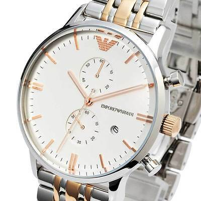 New EMPORIO ARMANI Mens Watch Gold Silver Two-tone Chronograph Stainless AR0399