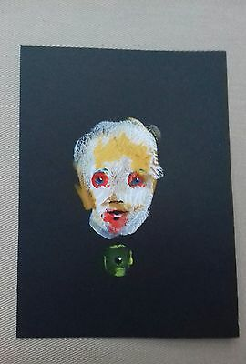 Original portrait in gouache and acrylic  paint contemporary dark painting