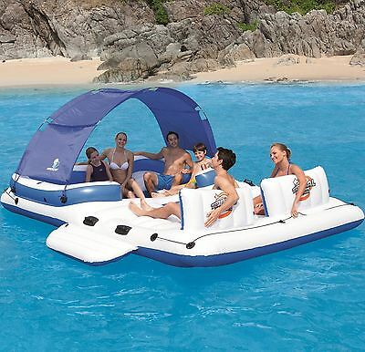 Comfort Inflatable Floating Lake Raft Miami Giant Canopy Lounge Water Cooler Bag