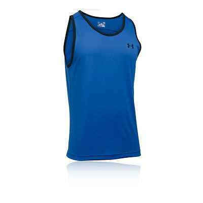 Under Armour Tech Mens Blue Sleeveless Training Gym Vest Tank Top Singlet
