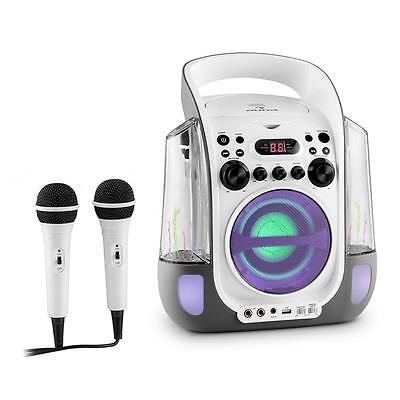 Auna Kara Liquida Portable Karaoke System Cd Usb Mp3 Waterjet Led 2X Microphone
