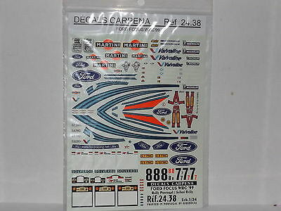 Decalcomanie Planche Ford Focus Wrc 99.rally Portugal / Safari .1/24.ref 24.38