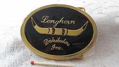 Long Horn Distributors BELT BUCKLE Black Enamel on Gold Tone Metal 8CmW