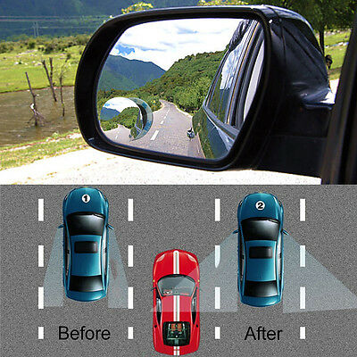 New Wide Angle Convex Car Blind Spot Round Stick-On Side View Rearview Mirror
