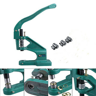 Upgraded 6/10/12mm Grommet Eyelet Hole Punch Machine Tool Kits Banner +3 Dies UK