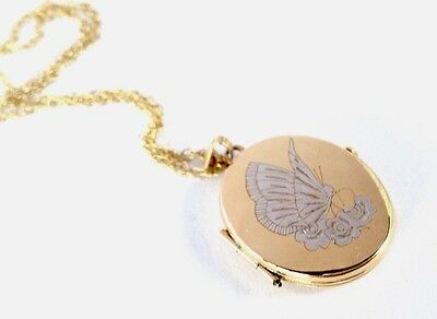 """9ct White & Yellow Gold """" Butterfly On Flowers """" Double Photo Locket Necklace"""