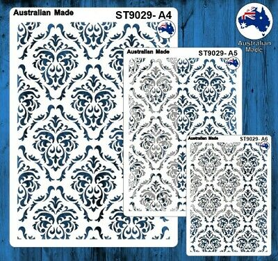 Stencils, Masks for Scrapooking, Cardmaking - ST9029 Damask, A4, A5, A6