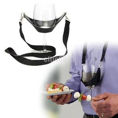 Hands Free Wine Glass Holder Accs Necklace Wine Tasting Black Lanyard Party au