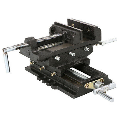 "US 5""Cross Slide Drill Press Vise Heavy Duty 2 Way X Y Slide Metal Milling Black"