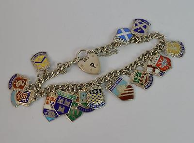 Vintage Solid Silver Ladies Place Name Charm Bracelet with Many Charms