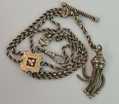 Victorian Aesthetic Sterling Silver Albertina Pocket Watch Chain and Tassel p156
