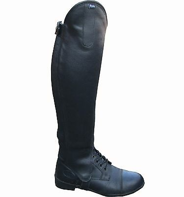 Ryda Ladies & Childrens Black Leather Horse Riding Half Chaps Gaiters 15 Sizes