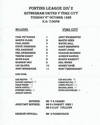 Teamsheet - Rotherham United Reserves v York City Reserves 1998/9 (6 Oct)