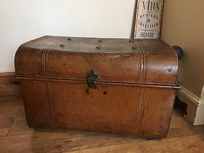 Large Vintage Tin Metal Steamer Trunk Chest Coffee Table Shoe Storage Toy Box?