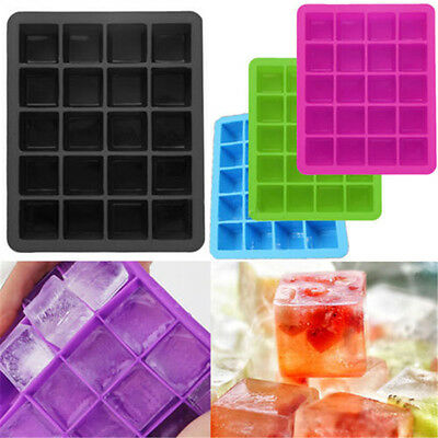 2X 20-Cavity Large Cube Ice Pudding Jelly Maker Mold Mould Tray Silicone Tool