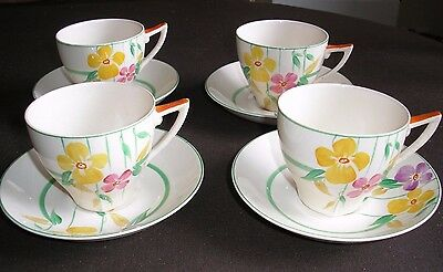 A Group Of 4 X John Maddock & Sons..royal Ivory Cups & Saucers  Lot D/5  Cb/2