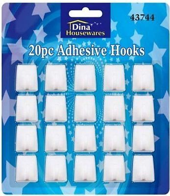 20 Self Adhesive Hooks White Plastic Strong Square Stick Sticky on Hook