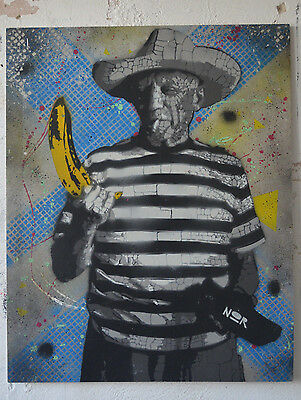 NOIR - What the.. Original streetart Warhol Picasso Banana banksy urban art