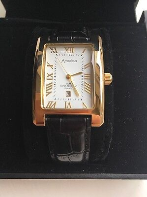 Ladies New In Box Amadeus Quartz Watch, Black Leather Strap, Gold